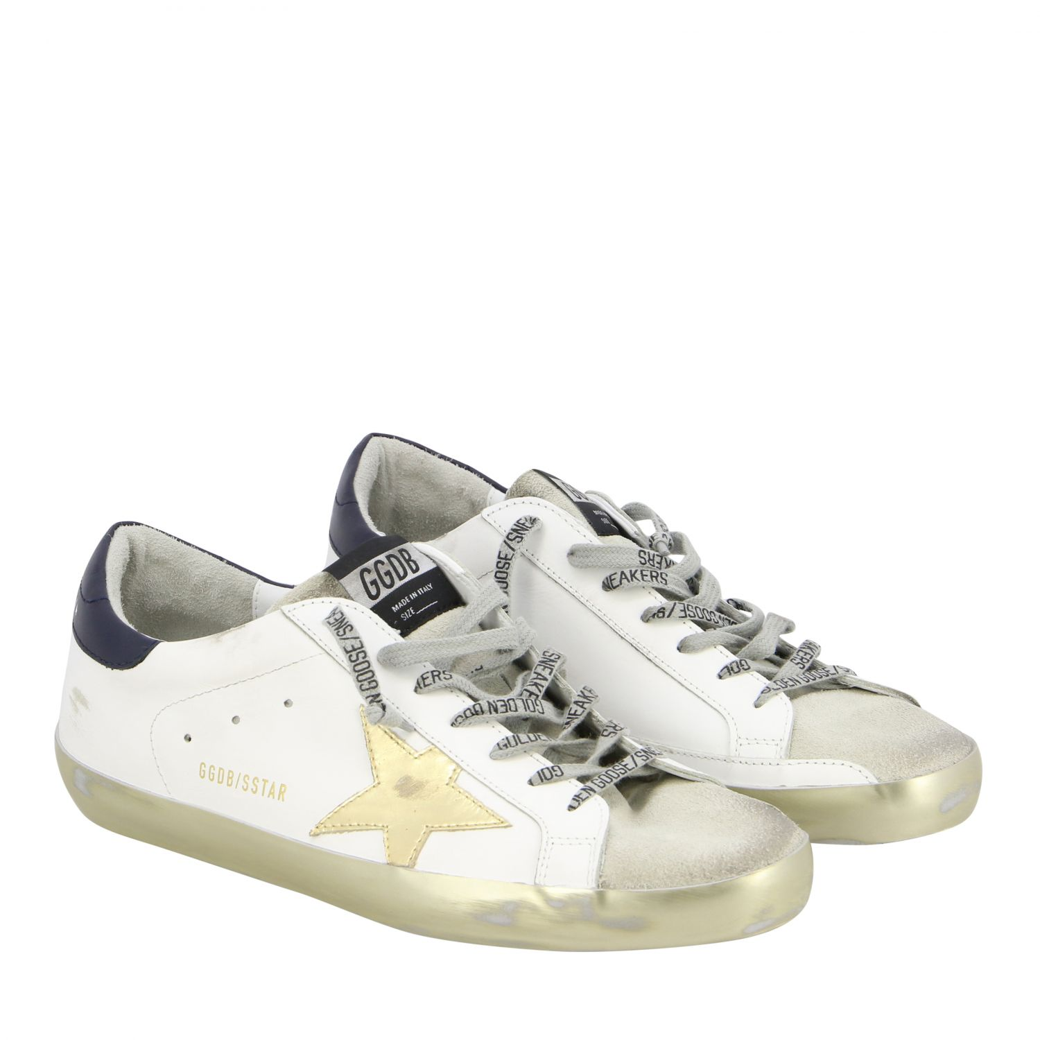 Sneakers Superstar Golden Goose in pelle con stella laminata bianco 2