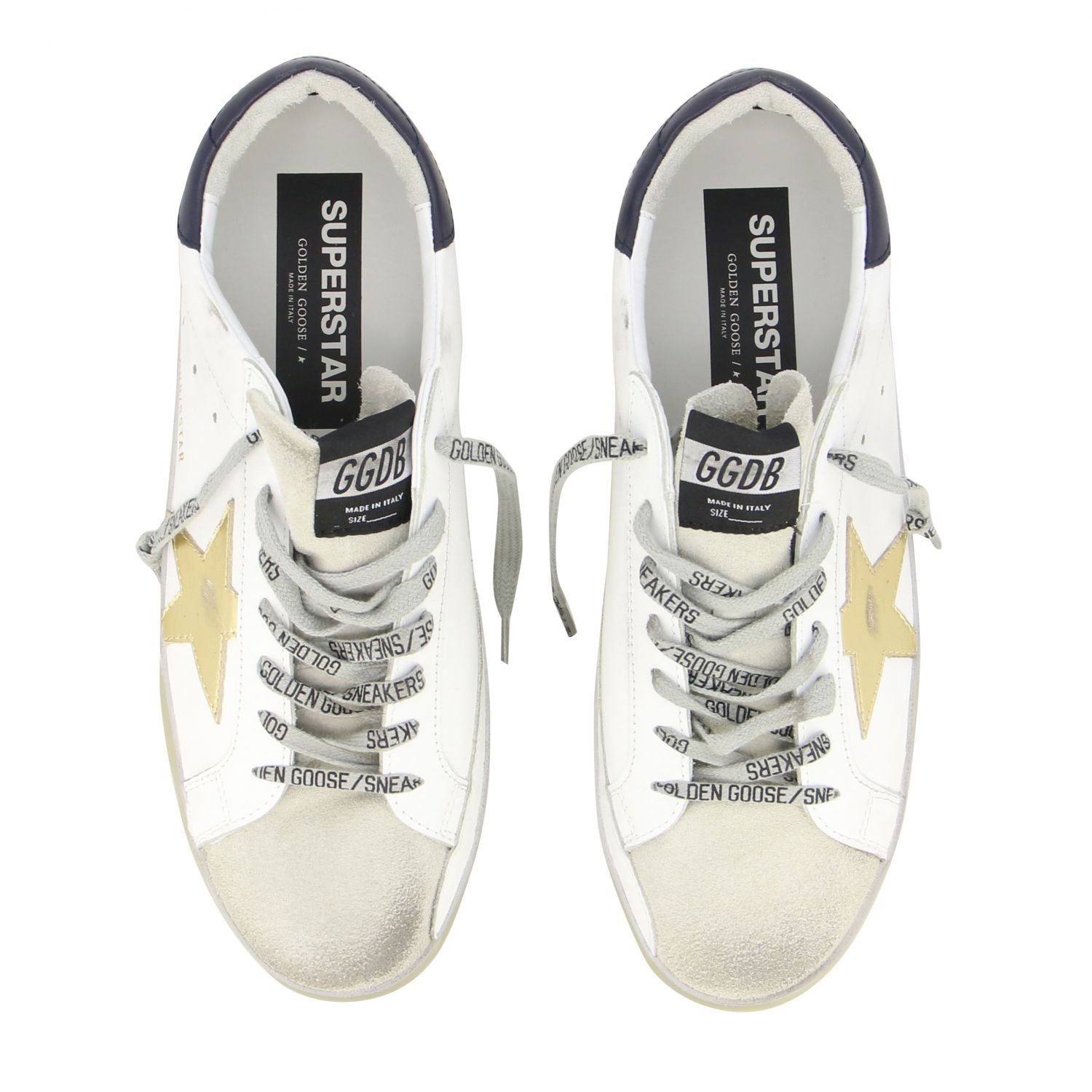 Sneakers Superstar Golden Goose in pelle con stella laminata bianco 3