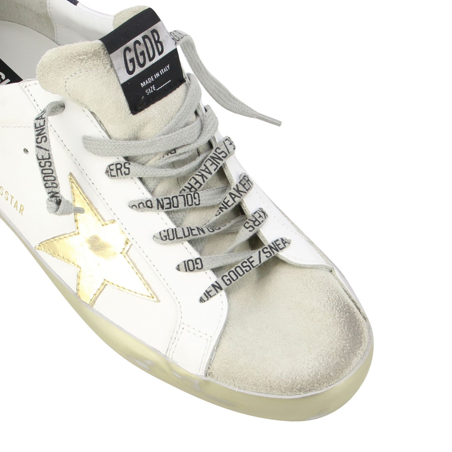 Sneakers Superstar Golden Goose in pelle con stella laminata bianco 4