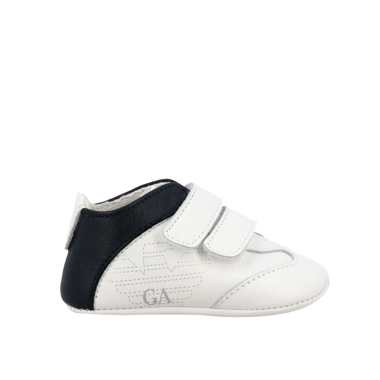 Emporio Armani 双魔术贴扣真皮运动鞋 白色 1