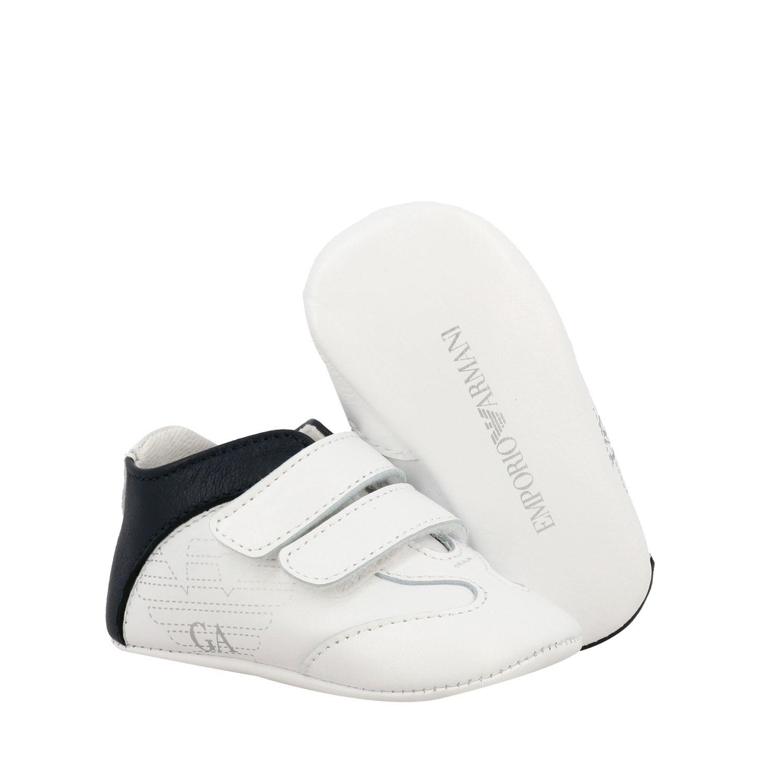 Emporio Armani 双魔术贴扣真皮运动鞋 白色 2