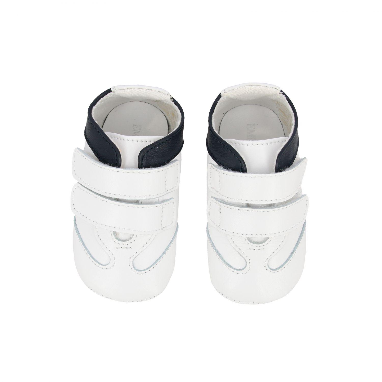 Emporio Armani 双魔术贴扣真皮运动鞋 白色 3