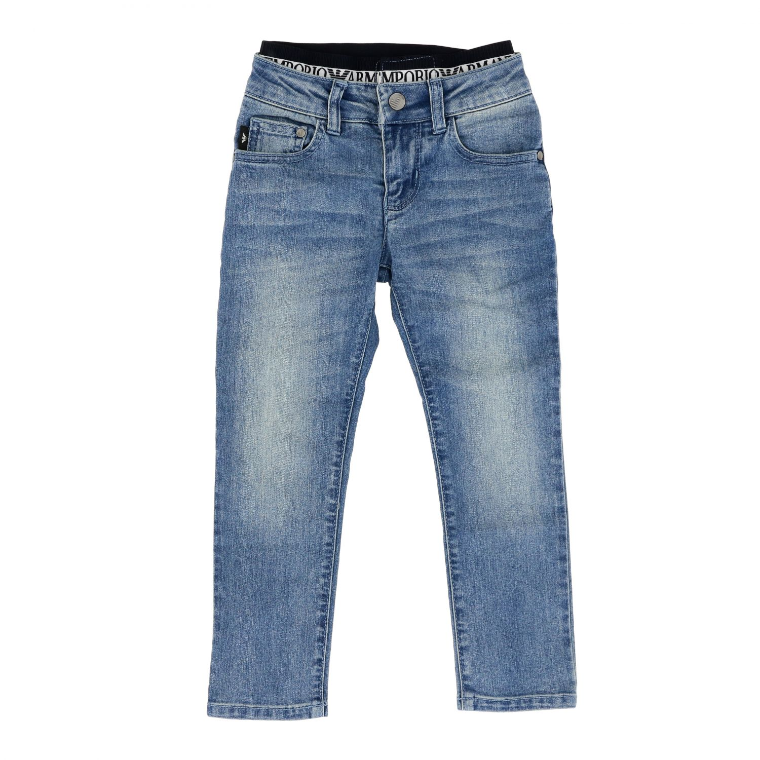 Emporio Armani jeans in used denim with logoed band denim 1