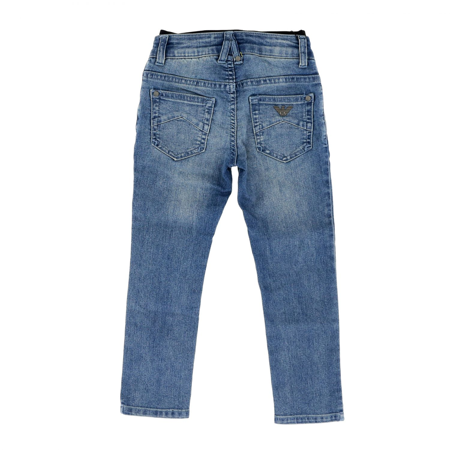 Emporio Armani jeans in used denim with logoed band denim 2