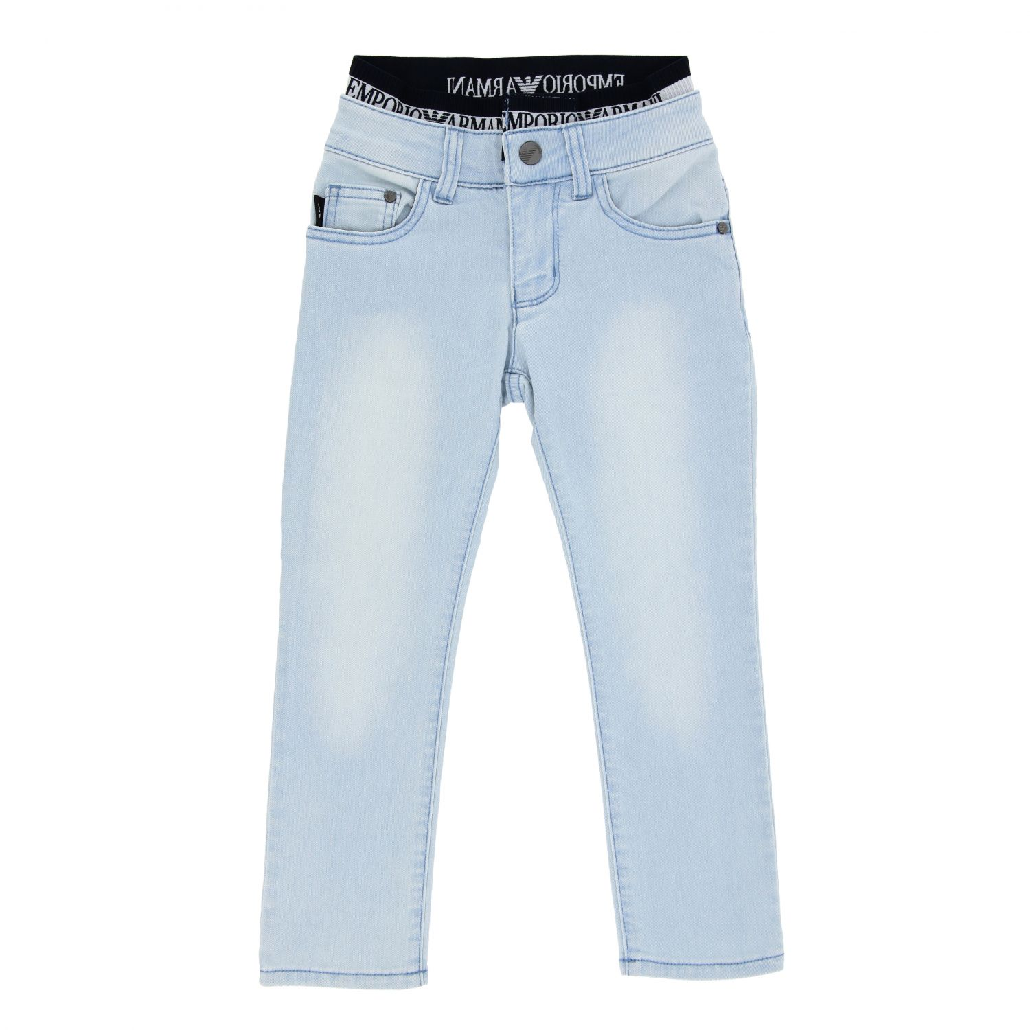 Emporio Armani jeans in used denim with logoed band stone washed 1