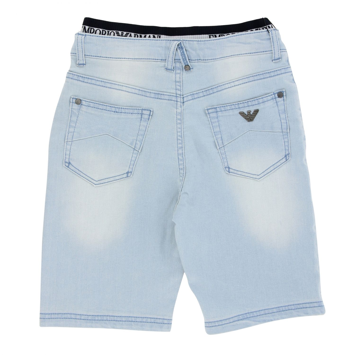 Emporio Armani jeans in used denim with logoed band stone washed 2