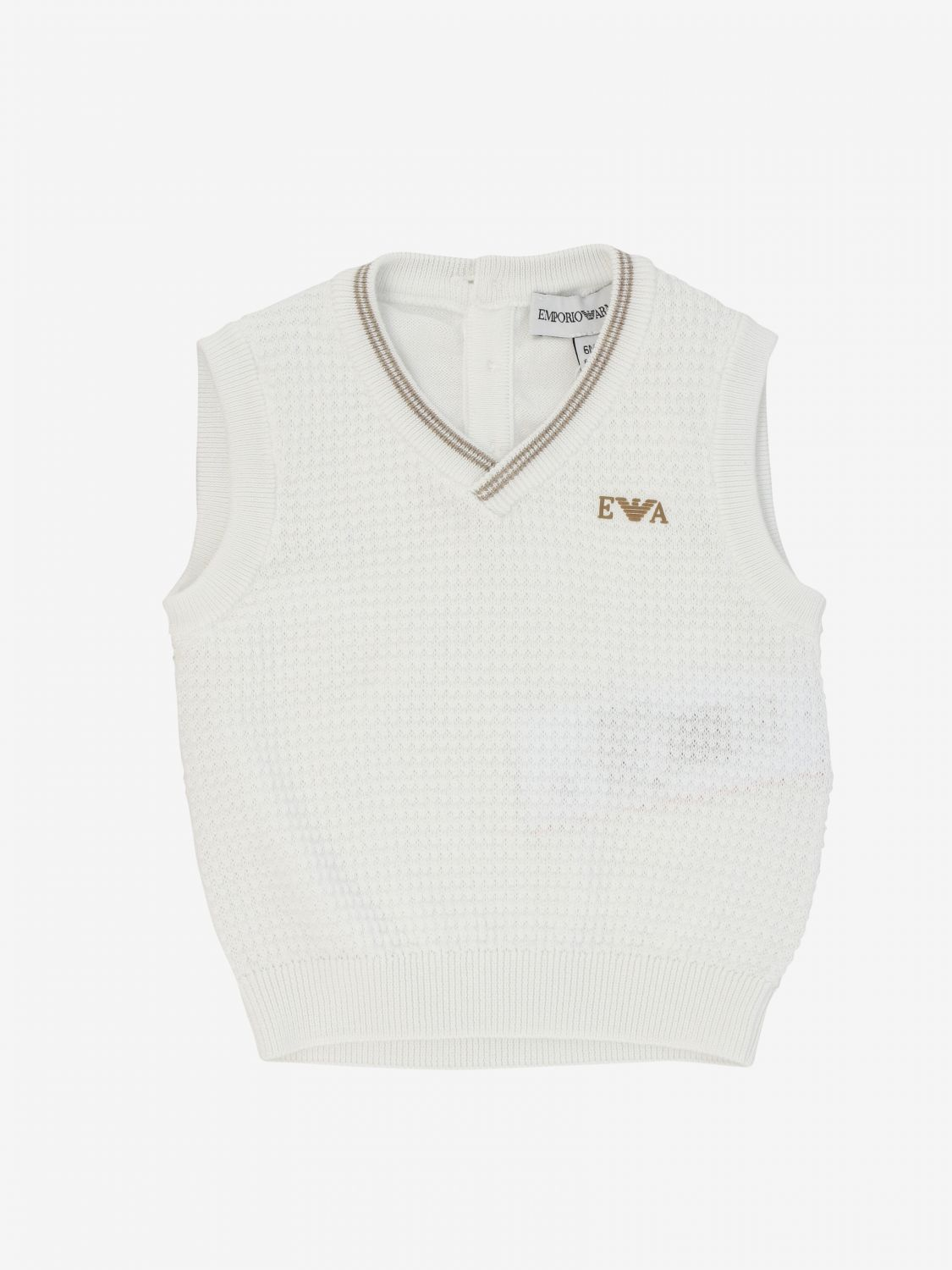 Emporio Armani vest with logo and striped edges white 1