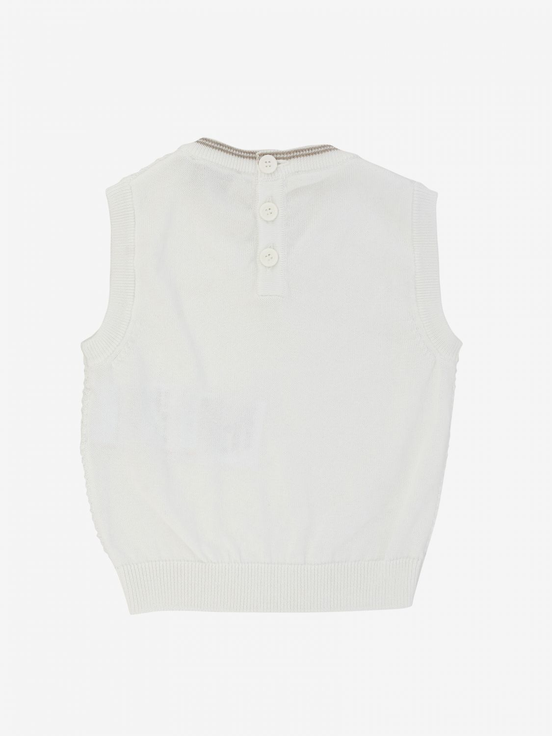 Emporio Armani vest with logo and striped edges white 2