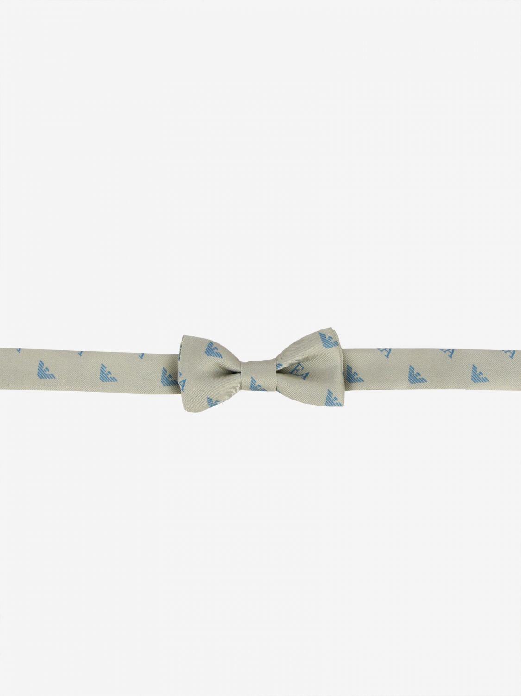 Emporio Armani bow tie in silk with all over logo beige 1