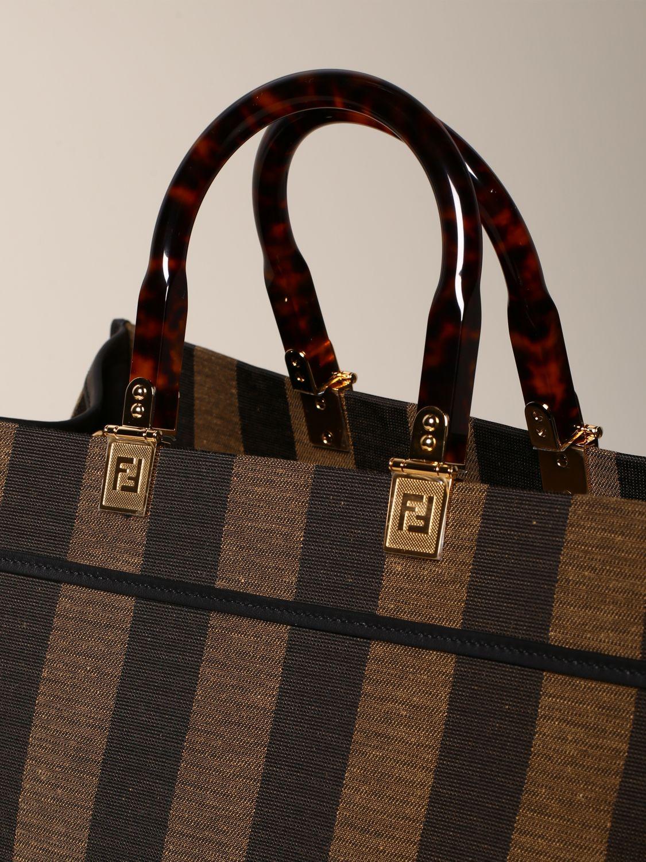 Gestreifte Fendi Sunshine Shopper mit FF-Logo dark 4