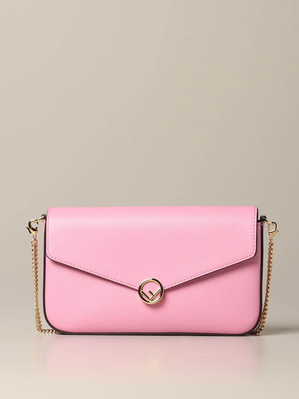 Fendi Leder Umhängetasche pink 1