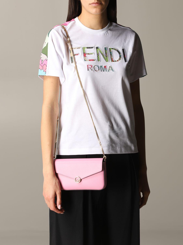 Fendi Leder Umhängetasche pink 2