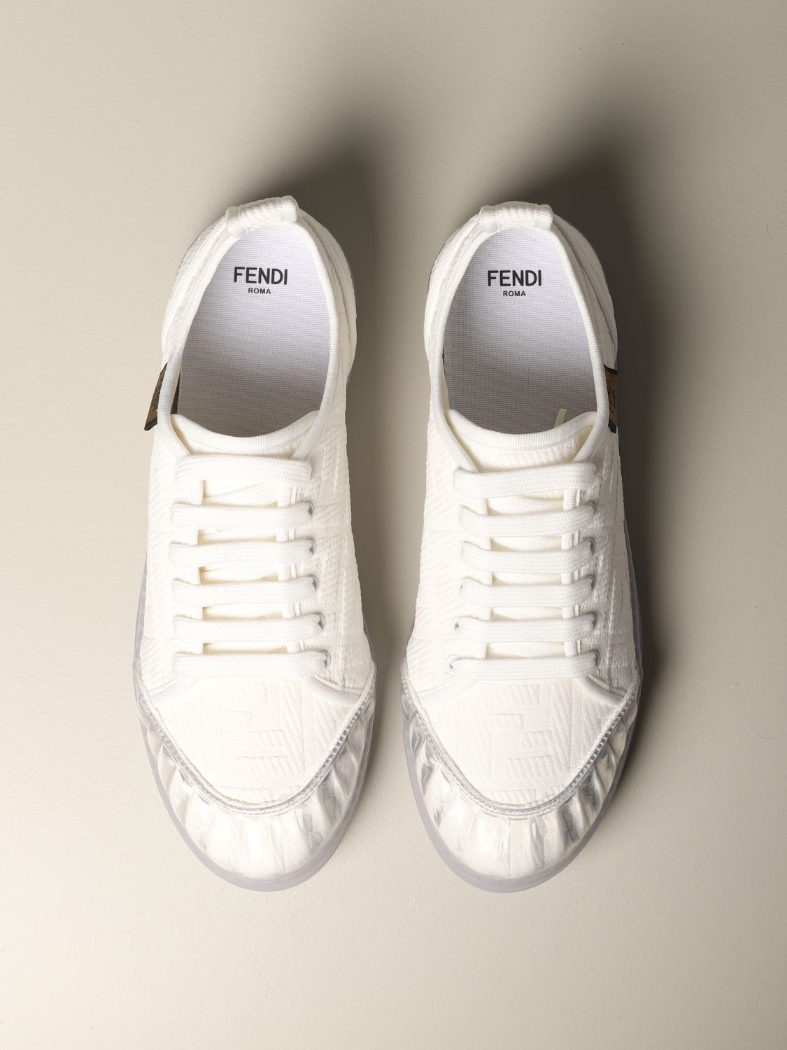 Sneakers Fendi: Fendi Canvas Sneakers mit FF Logo all over weiß 3