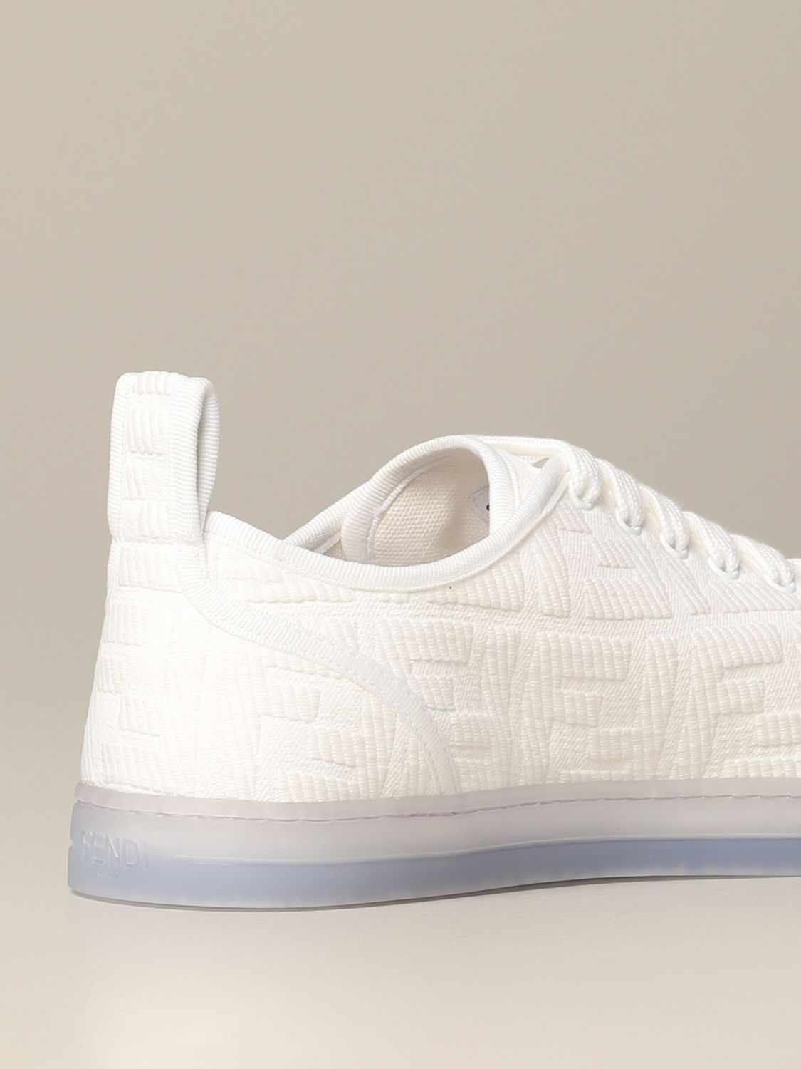 Sneakers Fendi: Fendi Canvas Sneakers mit FF Logo all over weiß 5