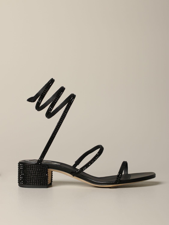 Босоножки на каблуке Rene Caovilla: Обувь Женское Rene Caovilla черный 1