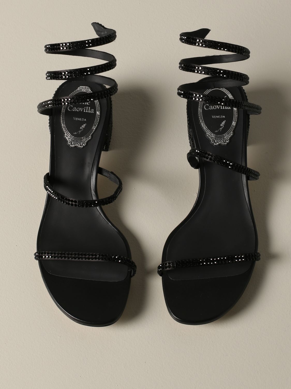 Босоножки на каблуке Rene Caovilla: Обувь Женское Rene Caovilla черный 3