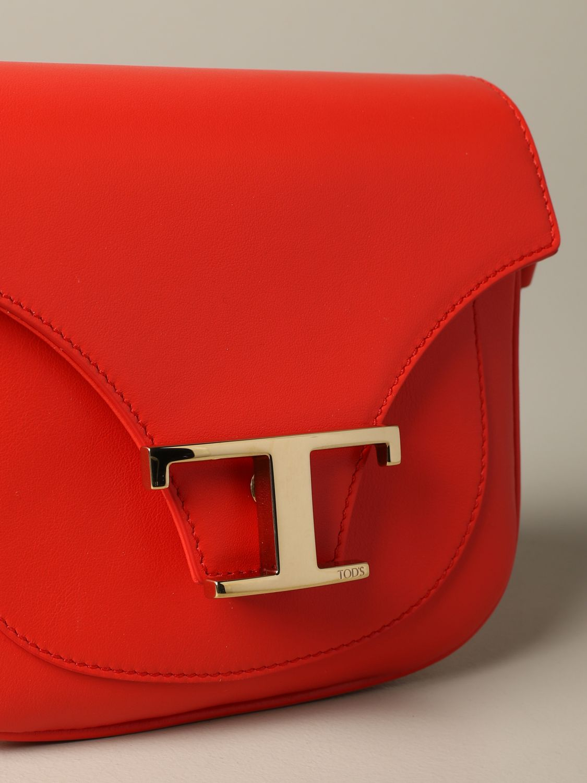 Tod's New T 真皮手袋 红色 3