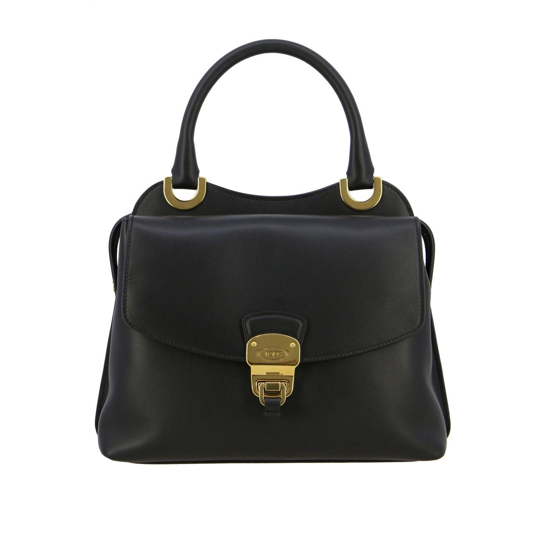 Sac porté main Tods: Mini sac à main Tod's en cuir avec zip noir 1