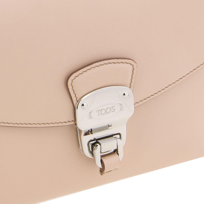 Sac porté main Tods: Mini Sac à main Tod's en cuir avec fermeture éclair rose 4