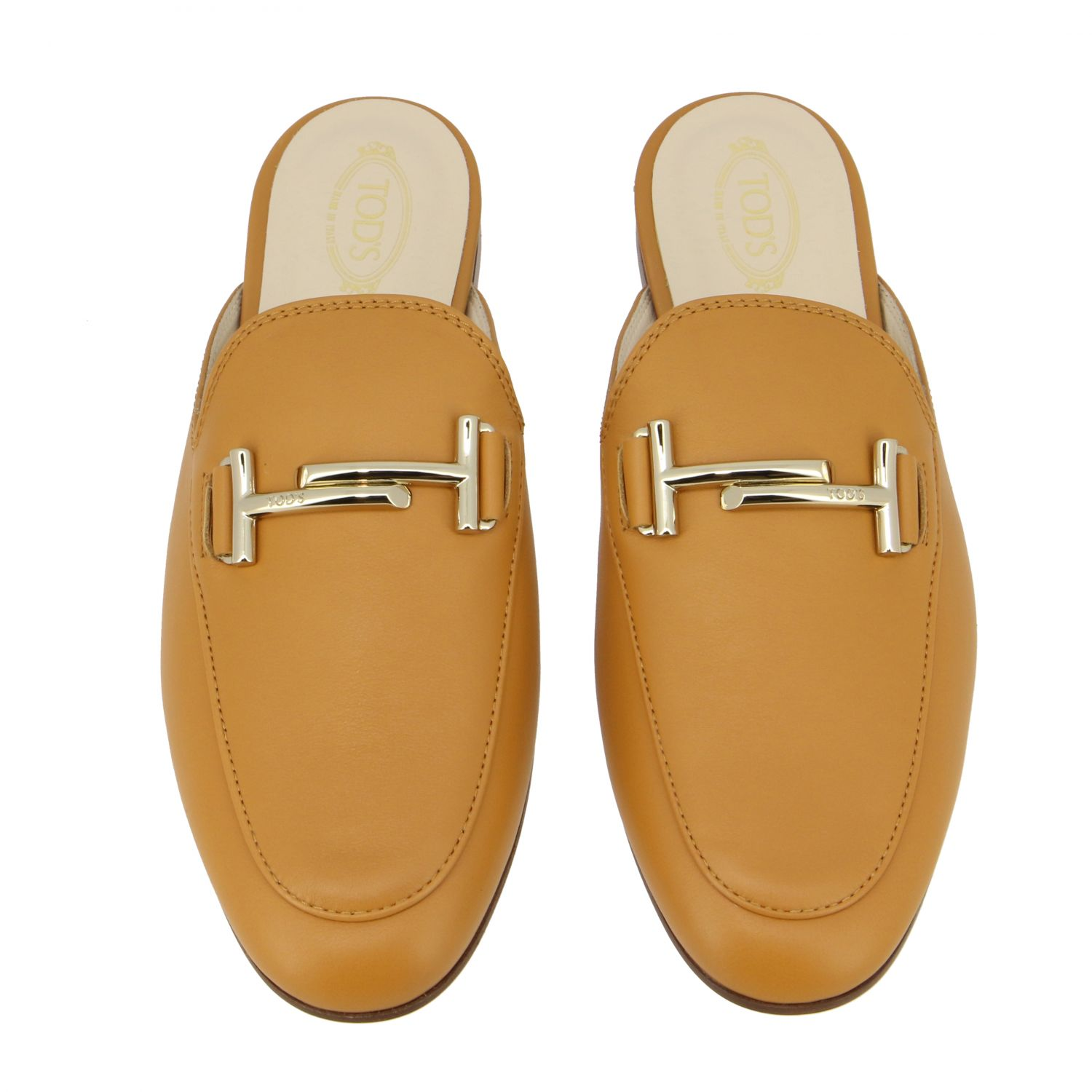 Sabot Tod's in pelle liscia con double T cuoio 3