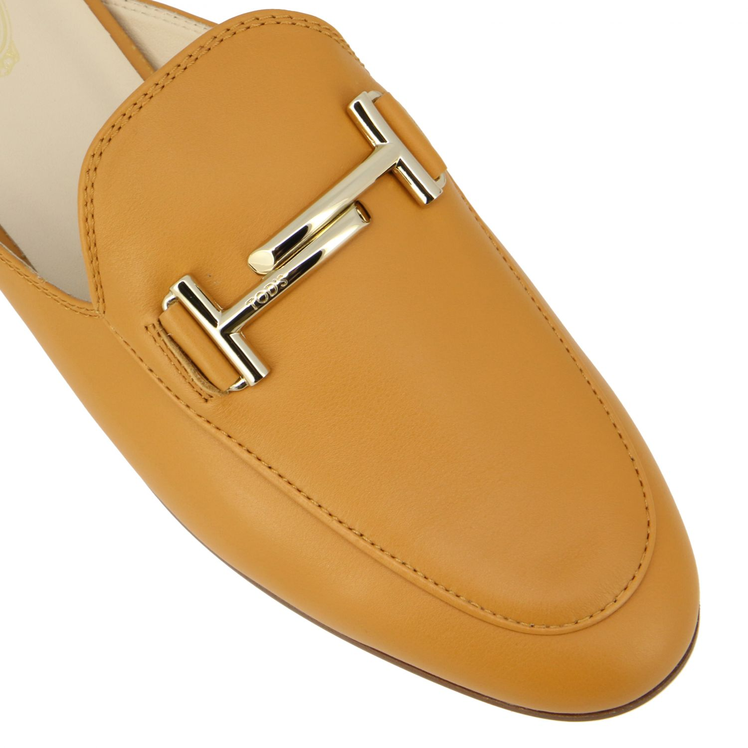 Sabot Tod's in pelle liscia con double T cuoio 4
