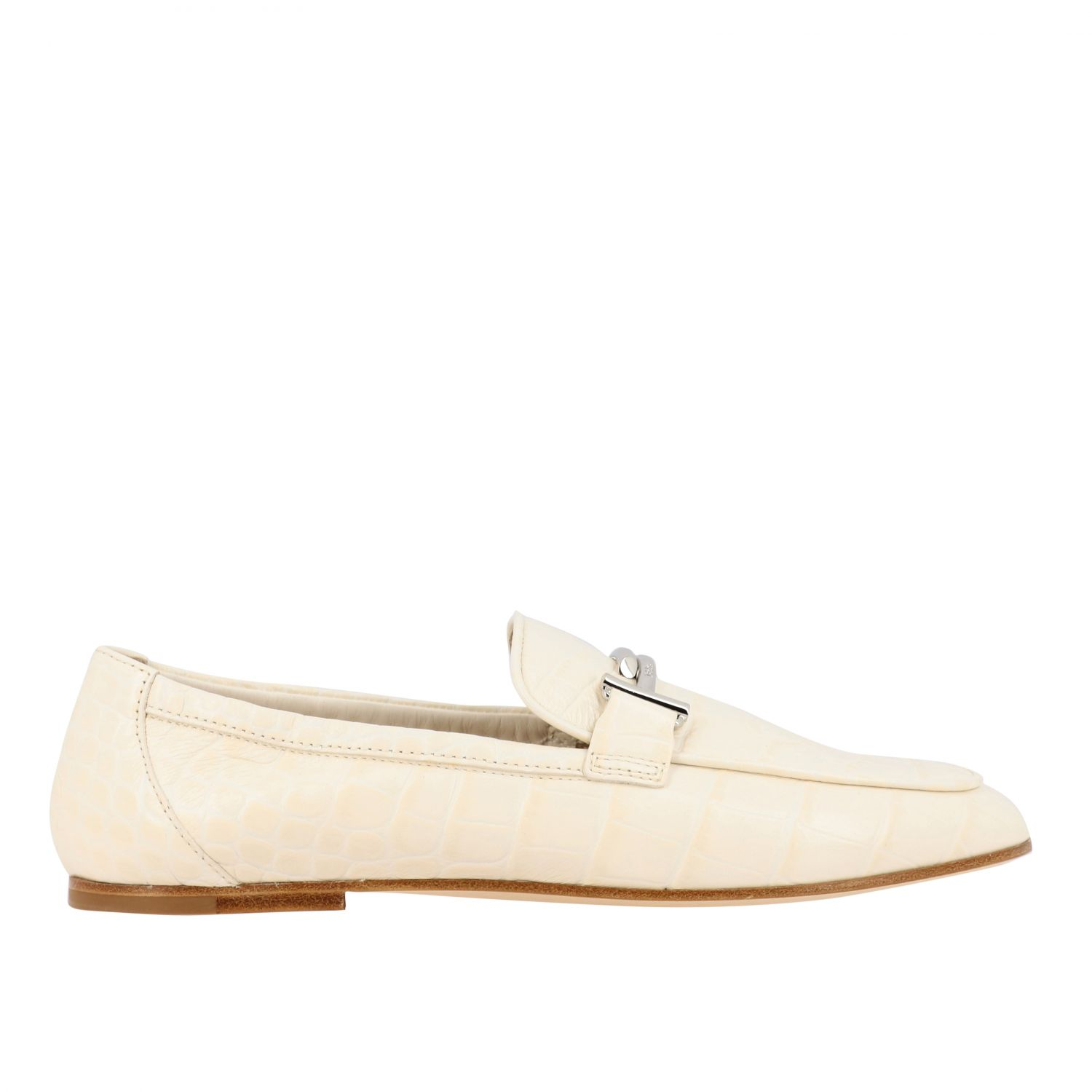 Mocassino Tod's in pelle stampa cocco con double T bianco 1