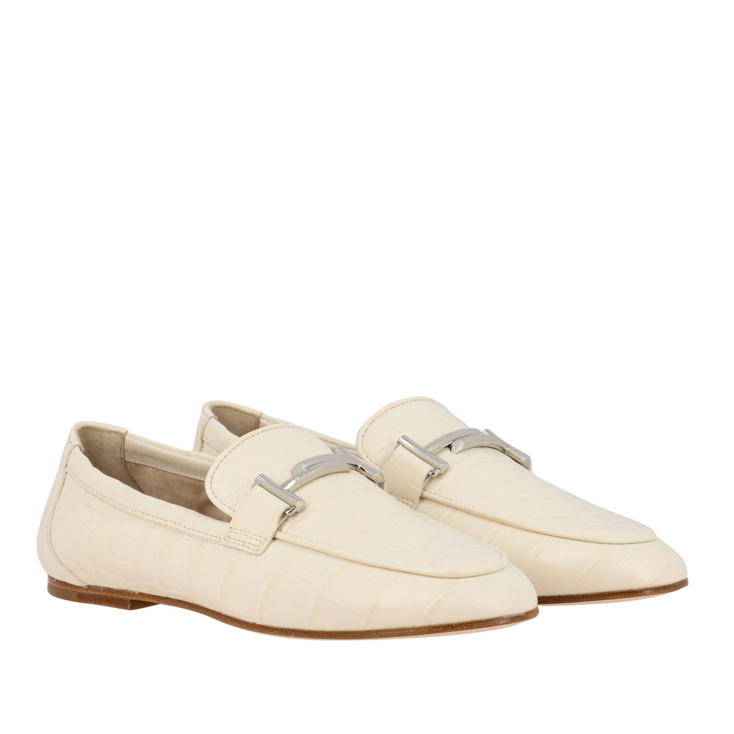 Mocassino Tod's in pelle stampa cocco con double T bianco 2