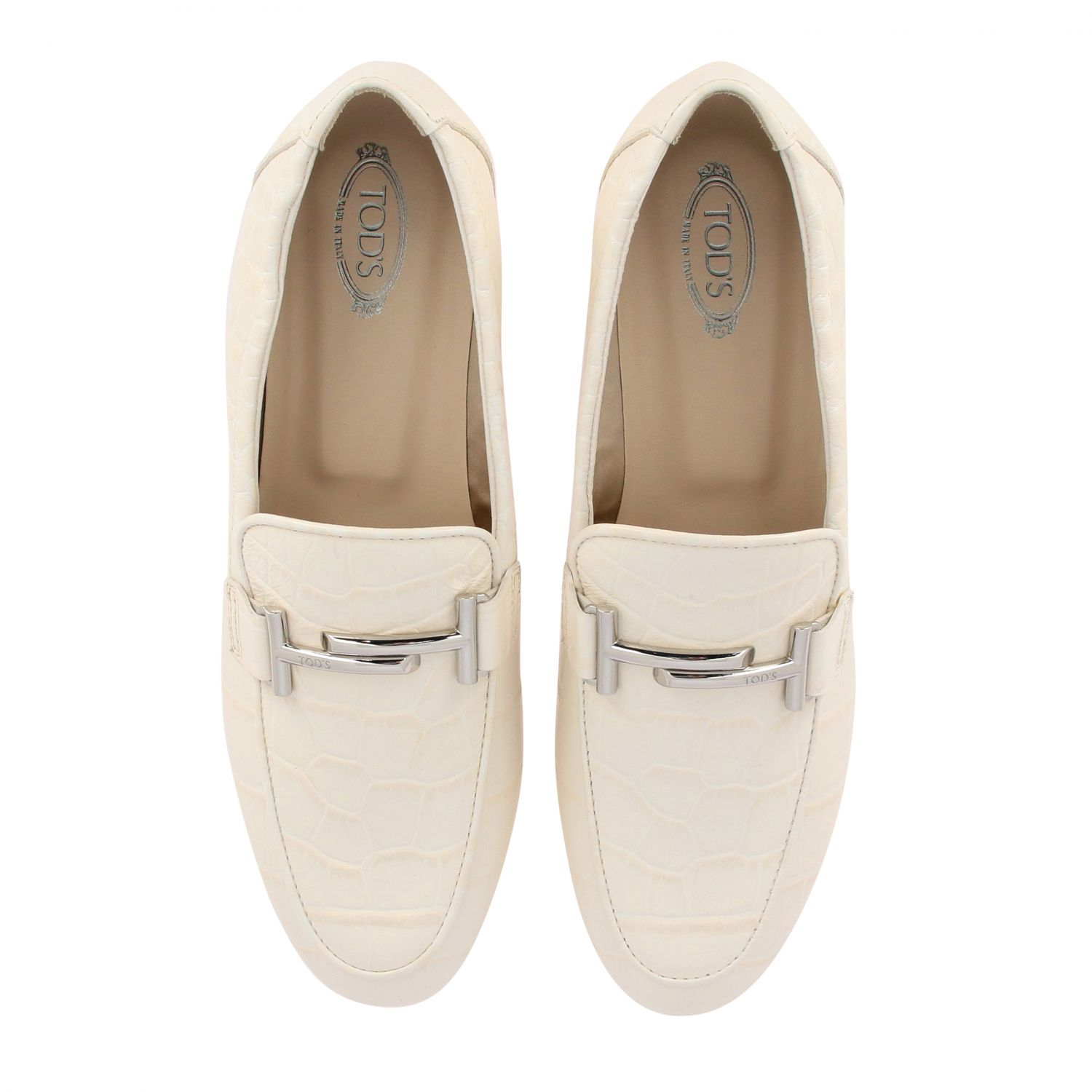 Mocassino Tod's in pelle stampa cocco con double T bianco 3