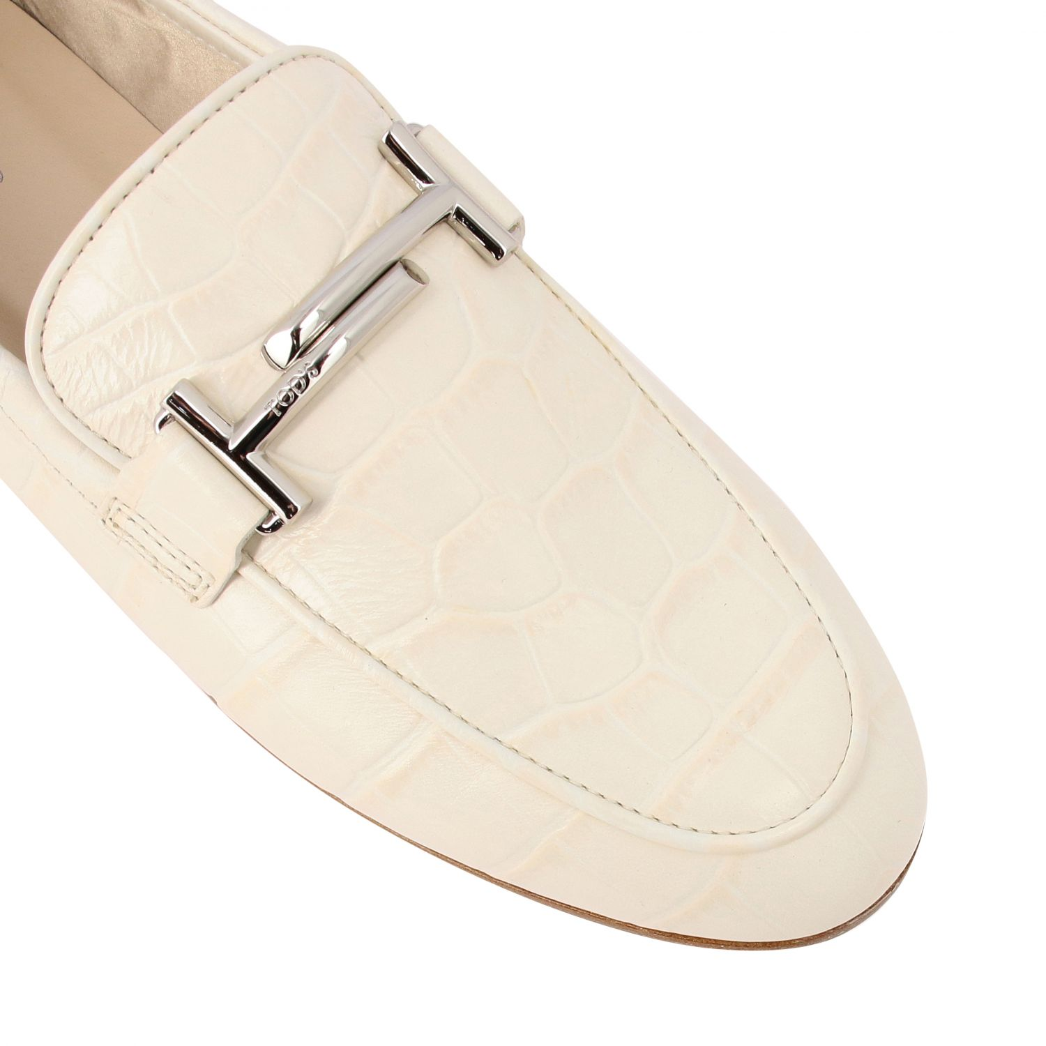 Mocassino Tod's in pelle stampa cocco con double T bianco 4