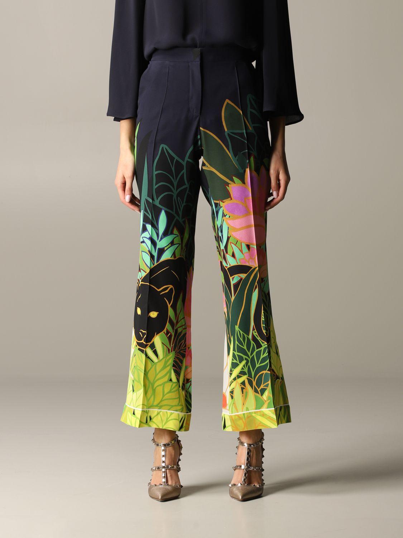 Valentino Seiden Hose mit Panther und Dschungel Print blau 1