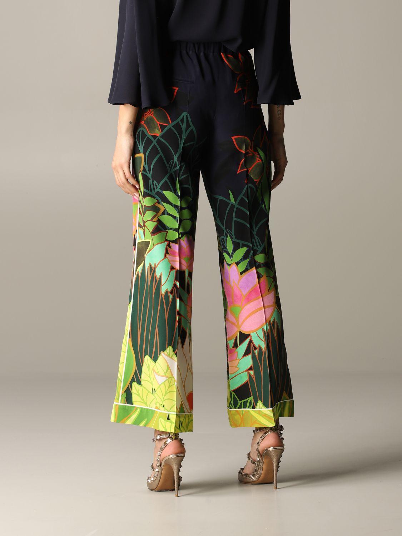 Valentino Seiden Hose mit Panther und Dschungel Print blau 3