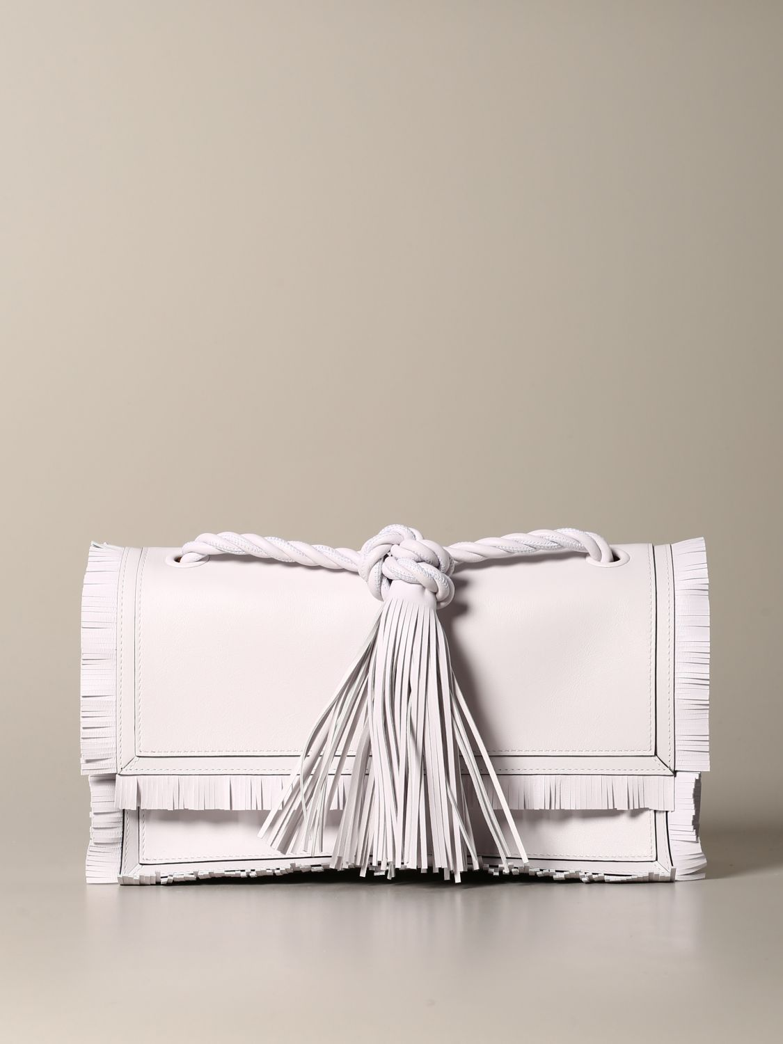 The rop Valentino Garavani bag in leather with fringes white 1