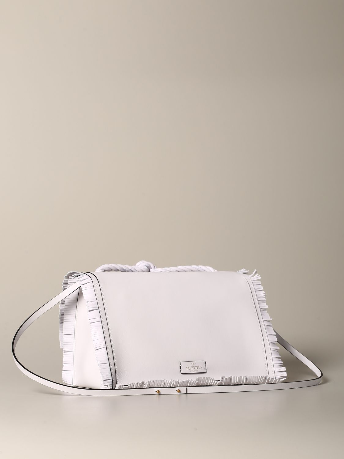 The rop Valentino Garavani bag in leather with fringes white 3