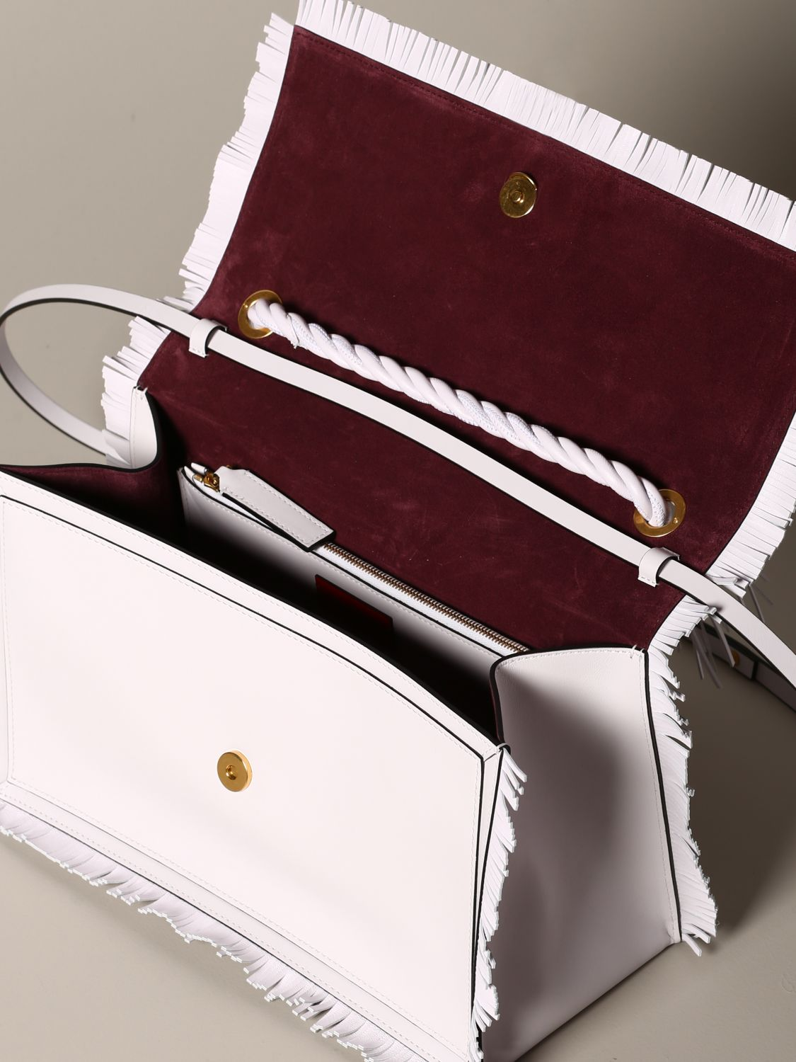 The rop Valentino Garavani bag in leather with fringes white 5