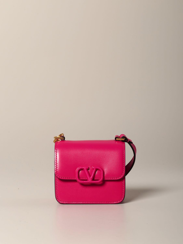 Mini sac à main Valentino Garavani: Sac en cuir VLogo micro Valentino Garavani fuchsia 1
