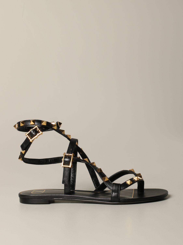 Sandales plates Valentino Garavani: Sandales plates en cuir Rockstud Valentino Garavani noir 1