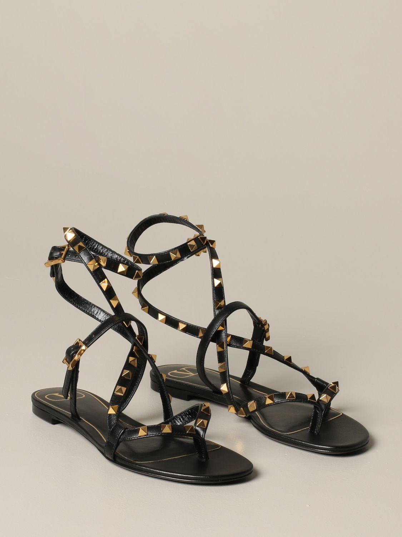Sandales plates Valentino Garavani: Sandales plates en cuir Rockstud Valentino Garavani noir 2