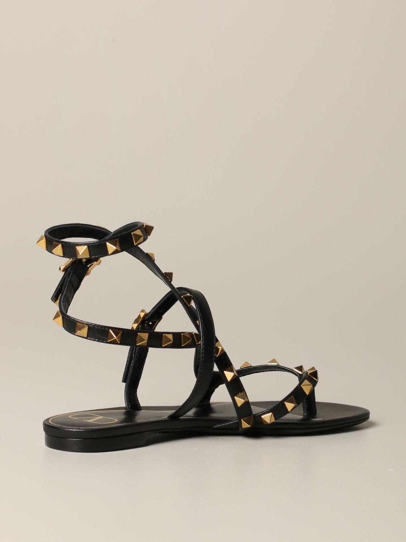 Sandales plates Valentino Garavani: Sandales plates en cuir Rockstud Valentino Garavani noir 4