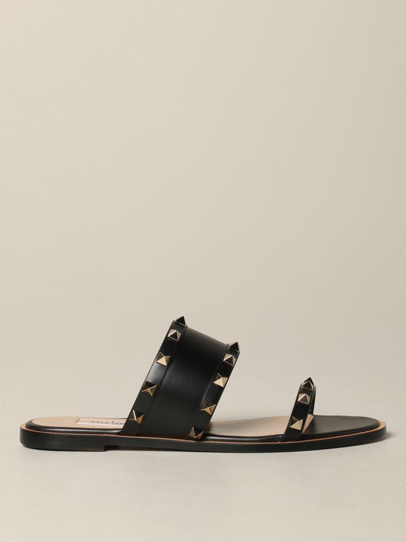 Valentino Garavani Rockstud 铆钉真皮凉鞋 黑色 1