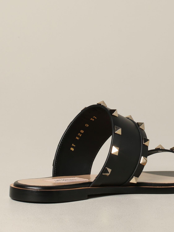 Valentino Garavani Rockstud 铆钉真皮凉鞋 黑色 5