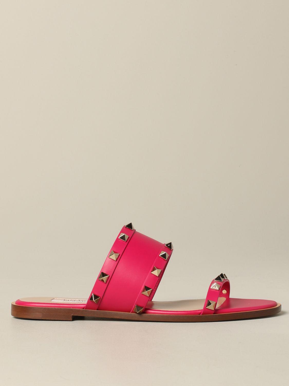 Valentino Garavani Rockstud 铆钉真皮凉鞋 紫红色 1