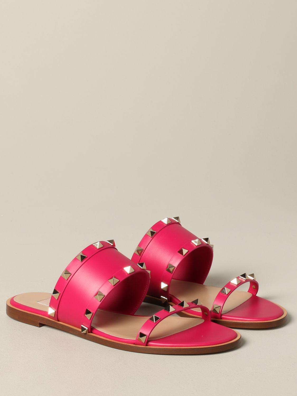 Valentino Garavani Rockstud 铆钉真皮凉鞋 紫红色 2