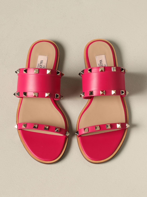 Valentino Garavani Rockstud 铆钉真皮凉鞋 紫红色 3