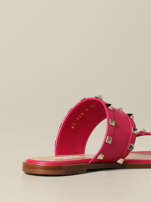 Valentino Garavani Rockstud 铆钉真皮凉鞋 紫红色 5