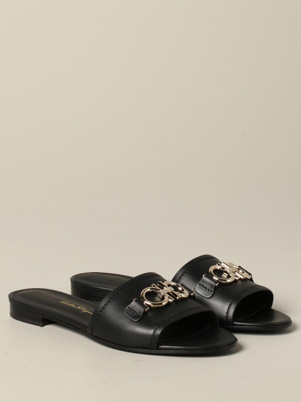 Salvatore Ferragamo Rhodes 地中海钩真皮凉鞋 黑色 2
