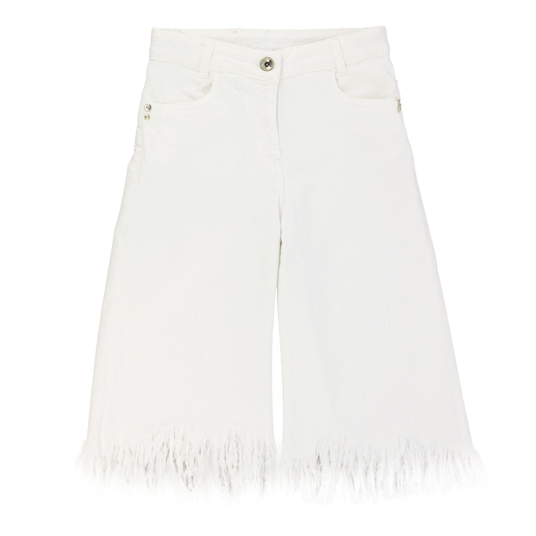 Patrizia Pepe Hose aus Baumwolle mit ausgefransten Kanten weiß 1