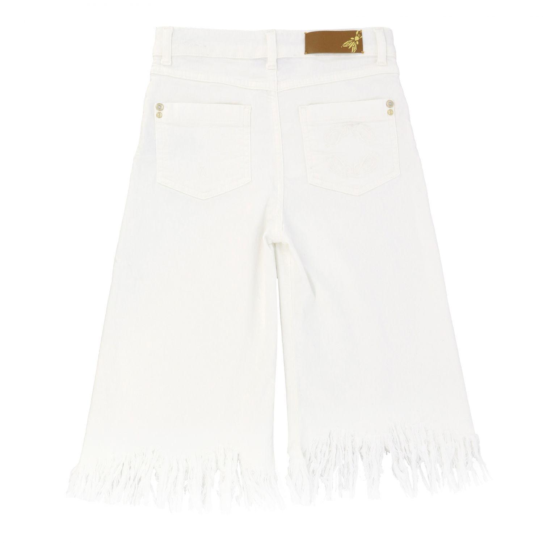 Patrizia Pepe Hose aus Baumwolle mit ausgefransten Kanten weiß 2