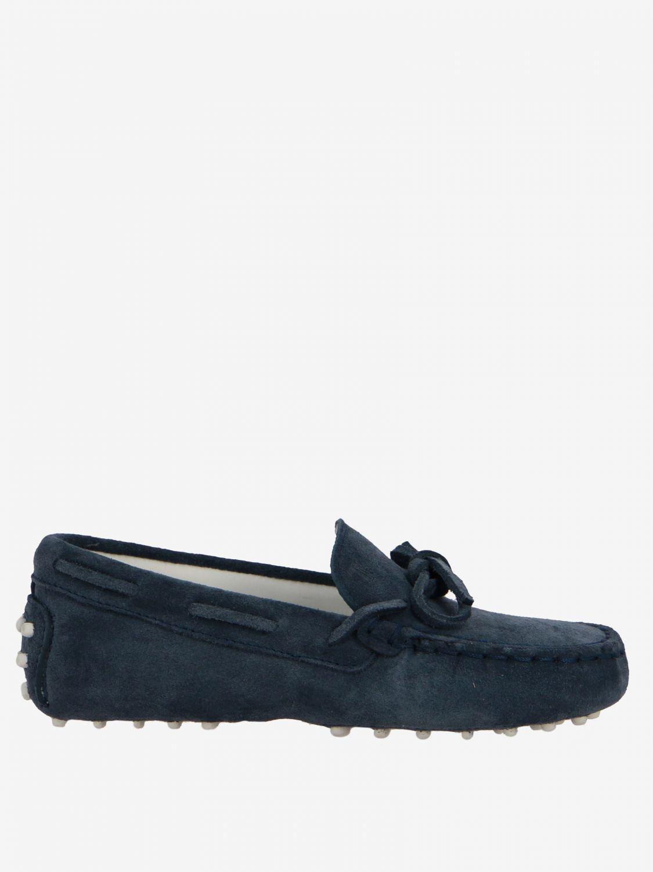 Scarpe Tods: Mocassino Drive Gommini Tod's in camoscio con laccetti blue navy 1