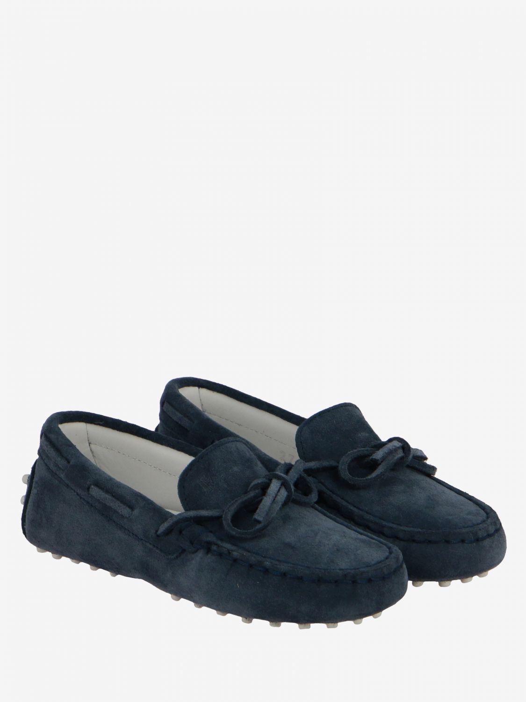 Scarpe Tods: Mocassino Drive Gommini Tod's in camoscio con laccetti blue navy 2