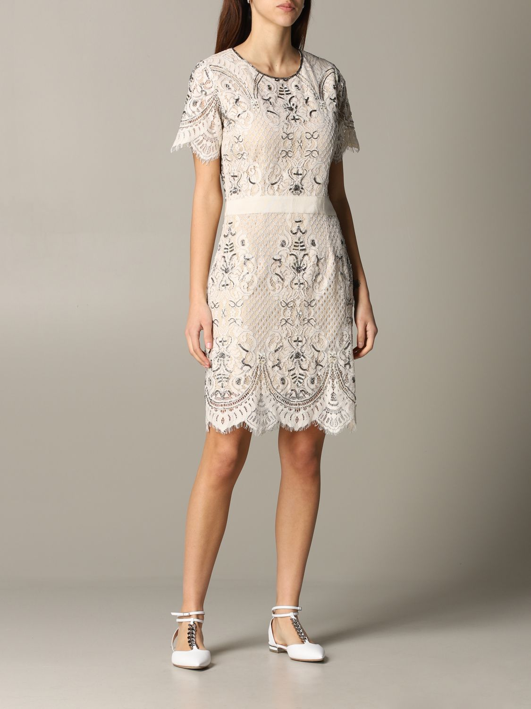 Платье с коротким рукавом Женское Twin Set сливки 1
